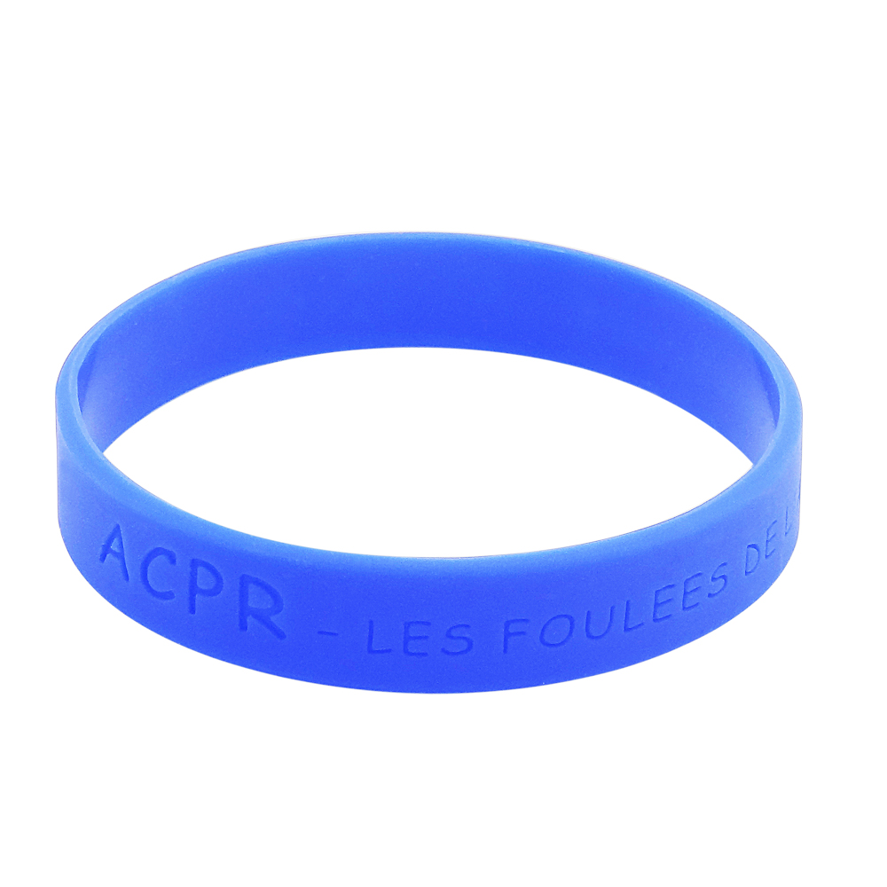 blue debossed wristband