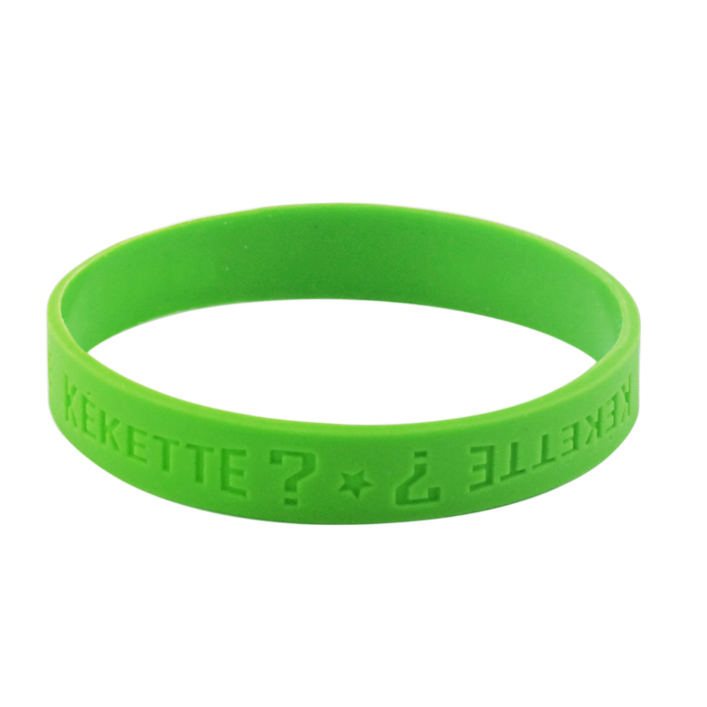 green debossed wristband