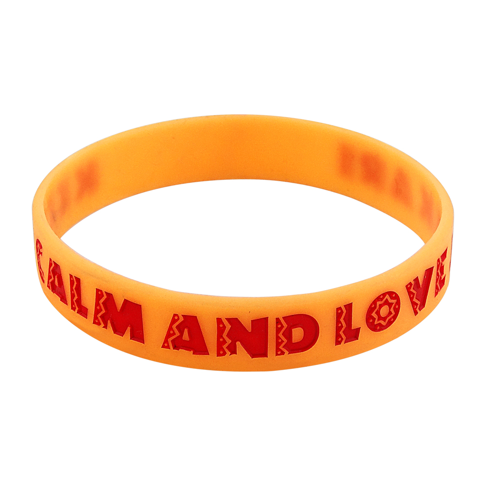 silicone wristband with colorfilled message